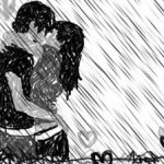 kissing_in_the_rain_by_alezzita-300x224